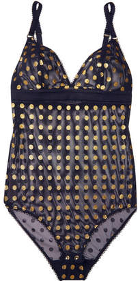 Stella McCartney Florence Fluttering Metallic Polka-dot Mesh Bodysuit - Midnight blue
