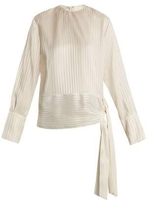 Stella McCartney Sash Hem Striped Silk Top - Womens - Cream