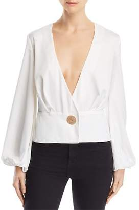 Finders Keepers Pompeii Front-Button Peplum Blouse
