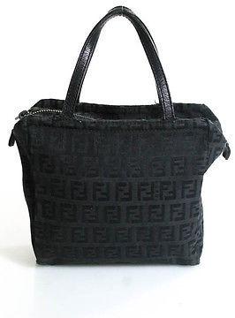 FendiFendi Black Canvas Leather Monogram Mini Tote Handbag