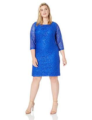 Jessica Howard Plus Size Womens 3/4 Sleeve Lace Shift Dress