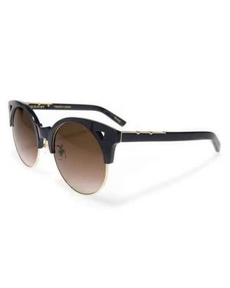 E.m. Pared Eyewear Up and At Semi-Rimless Round Sunglasses, Black/Gold