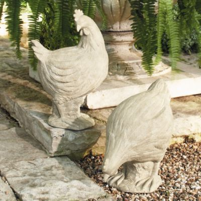 Faux Bois Hen & Rooster