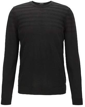 HUGO BOSS Crew-neck wool-blend sweater with structured detail