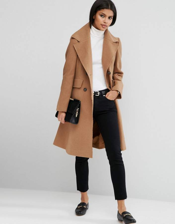 Asos ASOS Wool Blend Skater Coat with Raw Edges