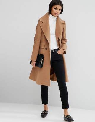 ASOS Wool Blend Skater Coat with Raw Edges $113 thestylecure.com
