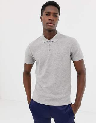 Selected waffle polo shirt in grey