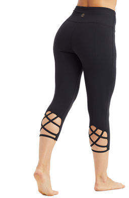 The Balance Collection Talia Activewear Capri Leggings with Lattice Detail