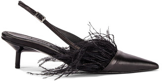 Marques Almeida Marques ' Almeida Feather Slingback in Black | FWRD