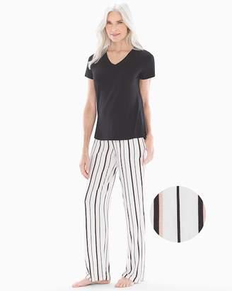 Cool Nights Short Sleeve Pajama Set Stylish Stripe Black