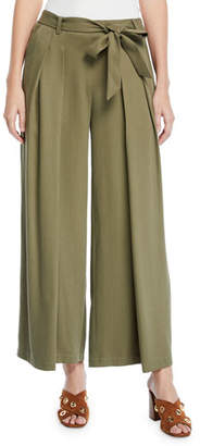 Eileen Fisher Petite Heavy Tencel® Twill Wide-Leg Pants w/ Tie-Waist