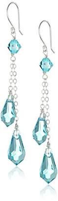 Swarovski Sterling Silver Elements Crystal Borealis Double Tear Earrings