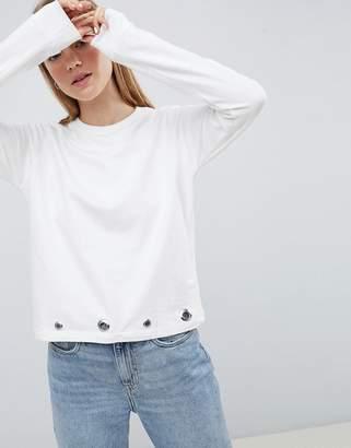 Brave Soul Rennie Sweatshirt With Eyelet Detail