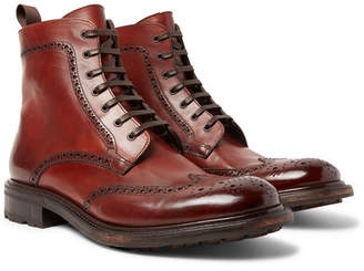 O'Keeffe Felix Polished-Leather Brogue Boots