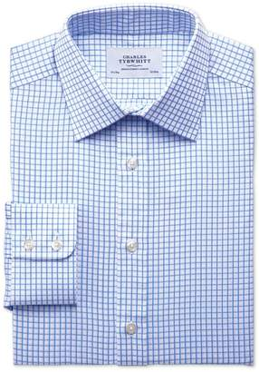 Charles Tyrwhitt Extra Slim Fit Twill Grid Check Sky Blue Cotton Dress Shirt Single Cuff Size 14.5/32