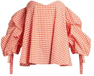 Caroline Constas Gabriella Off The Shoulder Gingham Top - Womens - Coral