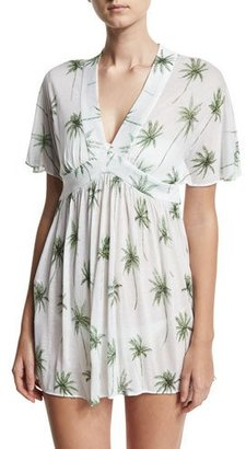 Milly Bari Palm Tree Printed Coverup Dress, White/Green $295 thestylecure.com