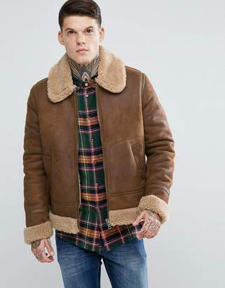 Asos Faux Shearling Jacket in Tan