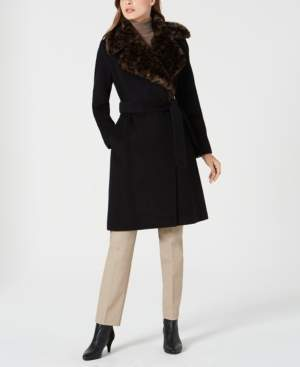 Via Spiga Belted Faux-Fur-Leopard-Collar Coat