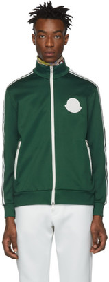 Moncler Green Jersey Zip Up Sweater