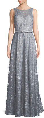 Karl Lagerfeld Paris Sleeveless Belted Floral-Applique Gown