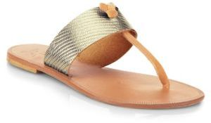 Joie Nice Metallic Leather Thong Sandals $125 thestylecure.com