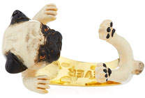 Visconti & Du Reau Pug Plated Enamel Dog Hug Ring, Size 7
