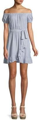 Bardot Bobbi Striped Off-the-Shoulder Flounce Dress