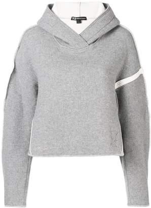 Y-3 oversize spacer wool cropped-hoodie
