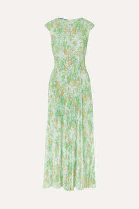 Prada Pleated Floral-print Crepe De Chine Maxi Dress - Light green