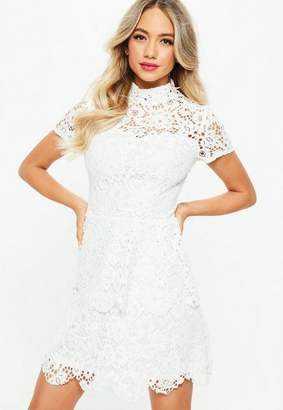 Missguided Tall White Short Sleeve Layered Lace Dress
