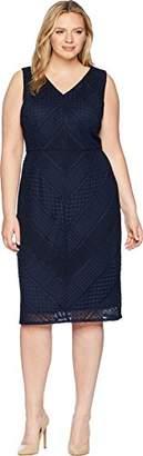 Adrianna Papell Women's Plus Size Vintage Stripe Lace Sheath Dress