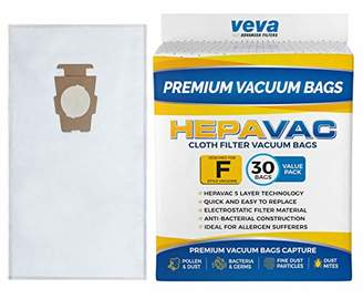 VEVA 30 Pack Premium HEPA Vacuum Bags Style F Cloth Bag for Kirby Replacement Type F