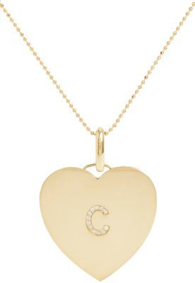 "Jennifer Meyer Oversize Diamond & Gold Initial ""C"" Heart Pendant Necklace"
