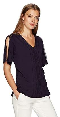 Adrianna Papell Women's Solid Split Short Sleeve V Neck New Embroidery