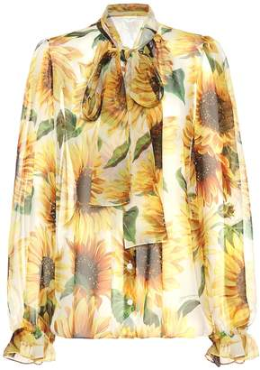 Dolce & Gabbana Sunflower silk-chiffon blouse