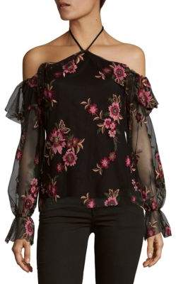 Supply & Demand Floral Embroidered Off-The-Shoulder Top