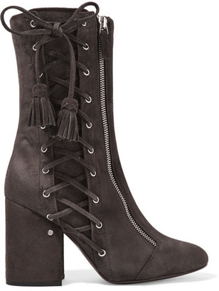 Laurence Dacade - Marcy Lace-up Suede Boots - Dark gray $1,270 thestylecure.com