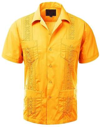 Maximos Yucatan Mexico Maximos Men's Short Sleeve Button-Up Cuban Guayabera Dress Shirt 5XL