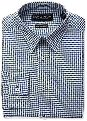 Nick Graham Men's Crosshatch Fleur De Lis Print Cotton Dress Shirt