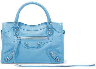 Balenciaga Classic City Mini Textured-leather Tote - Blue