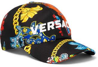 Versace Logo-embroidered Printed Silk-twill Baseball Cap - Black