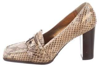 Dolce & Gabbana Snakeskin Leather Oxford Pumps