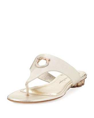 Salvatore Ferragamo Enfola Flat Metallic Leather Thong Sandals, Sahara