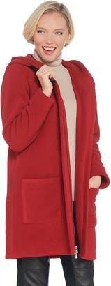 Denim & Co. Fleece Bonded with Sherpa Long-Sleeve Coat with Hood