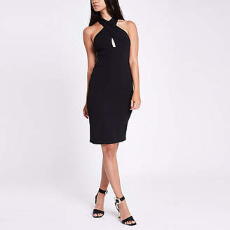 River Island Womens Black jersey cross neck bodycon dress