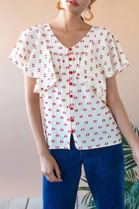 Eva Franco Flutter Sleeve Top