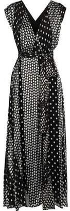 Diane von Furstenberg Wrap-Effect Polka-Dot Satin-Paneled Fil Coupé Silk-Blend Chiffon Midi Dress