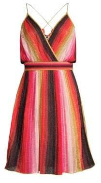 M Missoni Women's Metallic Stripe Sleeveless A-Line Dress - Pink Gold - Size 36 (0)