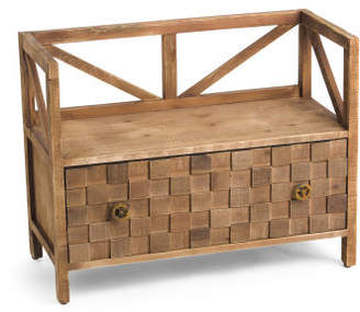 Wood Bench With Drawers